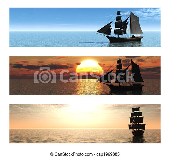 Collection of 3 banners with ships at sea. - csp1969885