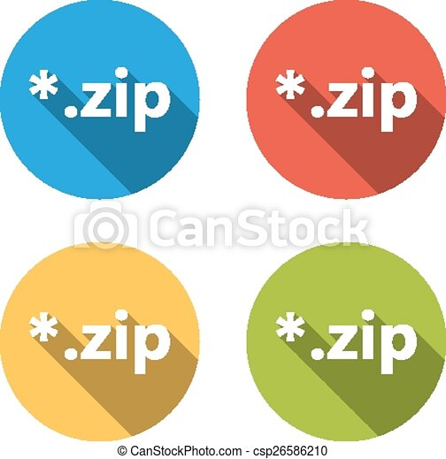Collection of 4 isolated flat buttons (icons) for zip extension - csp26586210