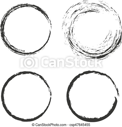 Collection of 4 isolated round circular grunge frames. Set of 4 ...
