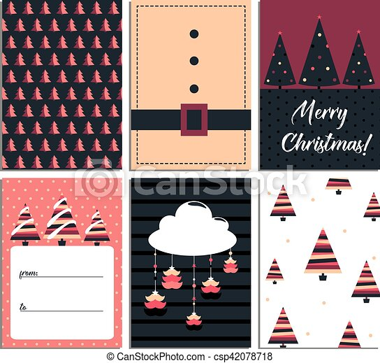 Christmas Card Templates.Collection Of 6 Christmas Card Templates Christmas Posters Set Scandinavian Illustration New Year Collection Greeting Seasonal For Scrapbooking