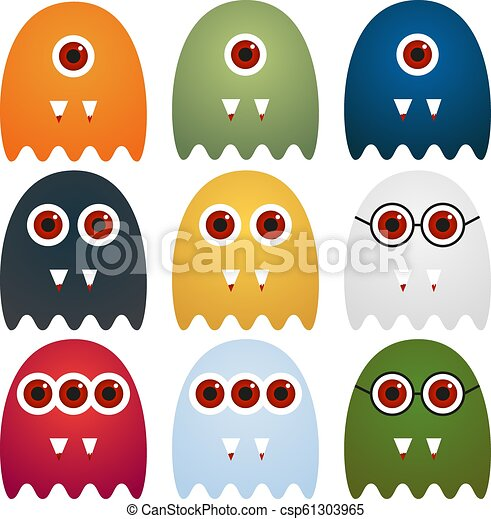 Collection of 9 cute monsters with different look, isolated on white - csp61303965