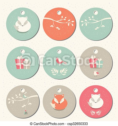 collection of 9 round christmas and new year gift tags with foxes