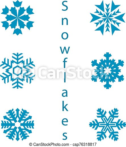 Collection of 9 snowflakes. Decoration for the new year, on a white background - csp76318817