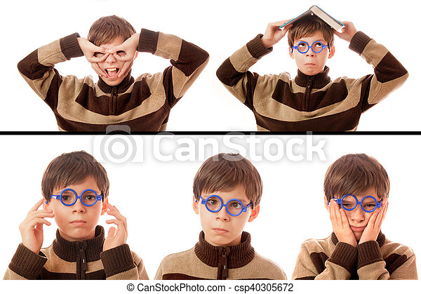 Collection of a young boy on a white background - csp40305672