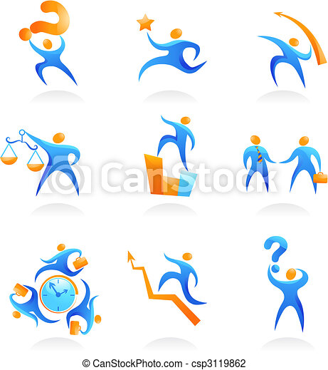 Collection of abstract people logos - 9 - csp3119862