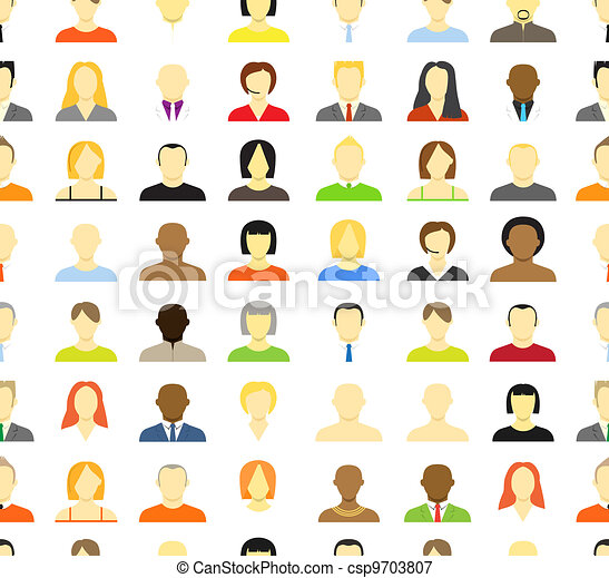 Collection of an account icons of men and women. Seamless background - csp9703807