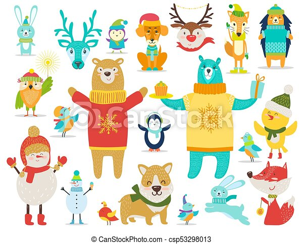 Collection Of Animals Snowmen Vector Illustration Collection Of