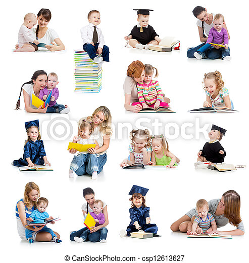 Collection of babies or kids reading a book. Concept of education from early childhood. - csp12613627