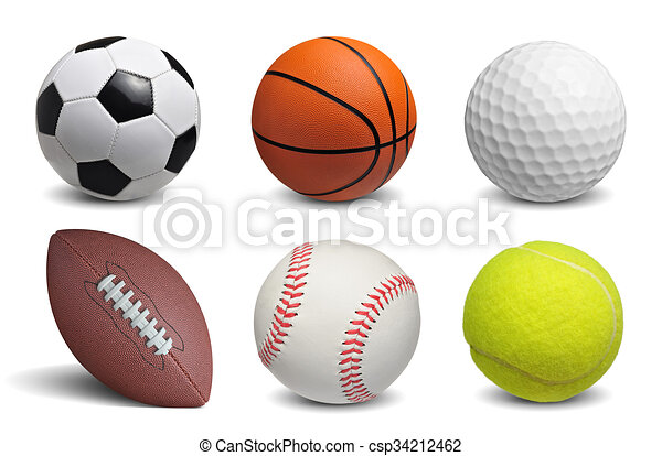 Collection of balls isolated on white background - csp34212462