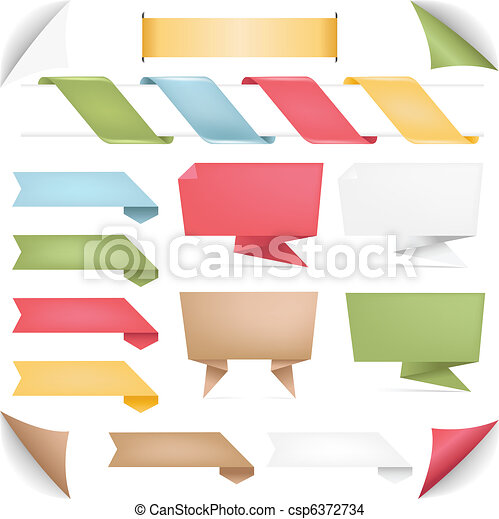 Collection Of Banners Of Origami And Ribbons - csp6372734