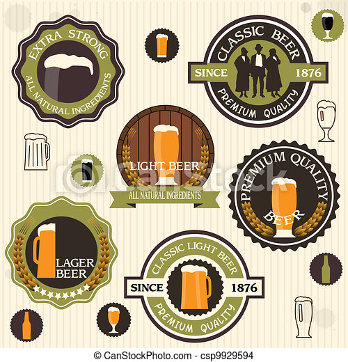 Collection of beer badges and labels in vintage style - csp9929594