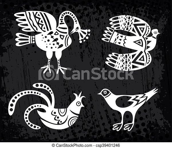 Collection of birds. Vector - csp39401246