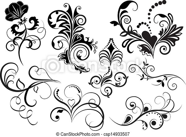 collection of black and white floral design elements vector clipart rh canstockphoto com free vector clipart collections Disney Vector Graphics Format