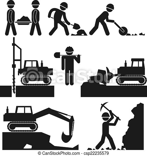 Collection of Black Construction Earthworks Icons - csp22235579