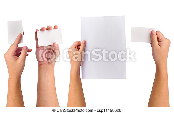 Collection of blank cards in a hand - csp11196628
