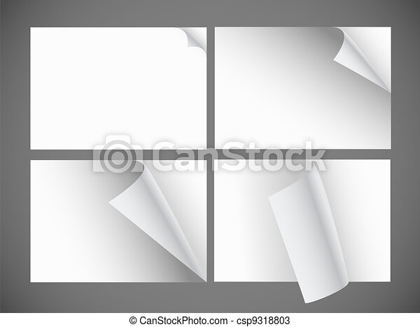 Collection of blank paper sheets with bending corners - csp9318803