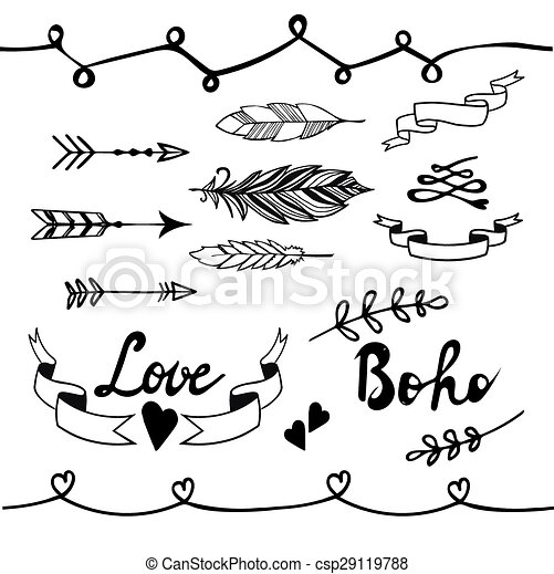 Collection Of Boho Doodle Design Elements Vector Illustration