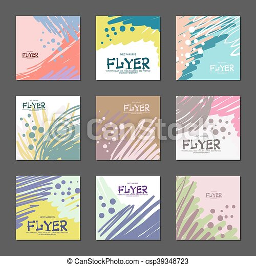 Collection of bright abstract cards for your design. Hand-drawn. Vector - csp39348723