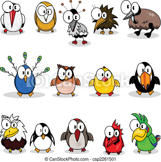 Collection of cartoon birds - csp2261501