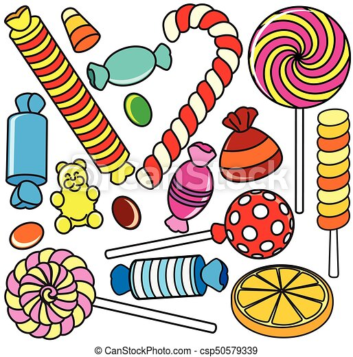 collection of cartoon candy contour illustration collection of