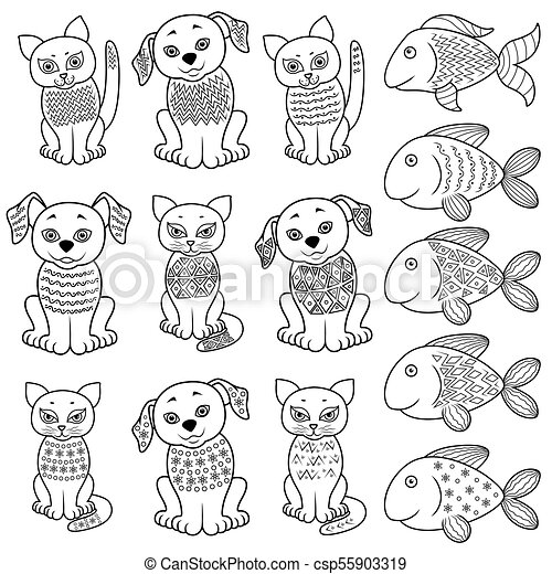 Collection of cartoon cats, dogs and fishe - csp55903319