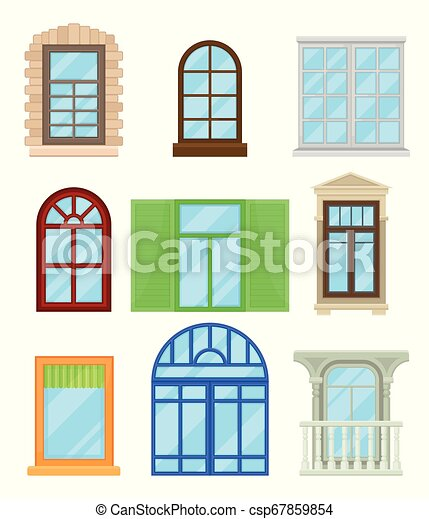 Collection Of Cartoon Colored Windows On White Background
