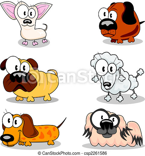 collection of cartoon dogs six different cartoon dogs