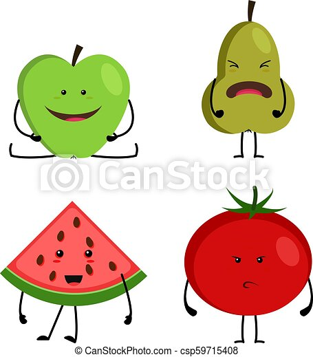 Collection Of Cartoon Fruit And Vegetables Funny Happy Faces