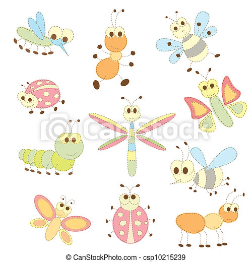 collection of cartoon insects - csp10215239