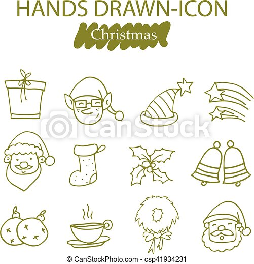 Collection of Christmas icons vector - csp41934231