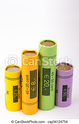 Collection Of Coin Rolls Euro