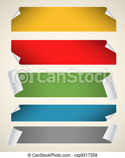 Collection of color blank paper ribbons with bending corners - csp9317359