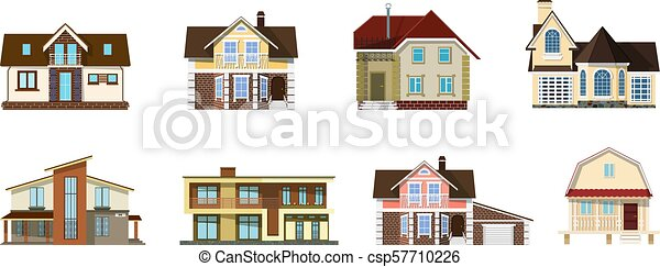 Collection Of Color Images Of Cute Cartoon Houses On A White Background Set Of Small Rural Houses Isolated Objects For Design Vector Illustration