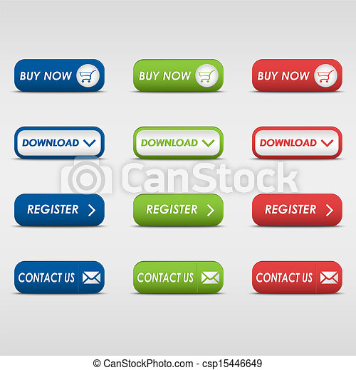 Collection of colored rectangular buttons - csp15446649