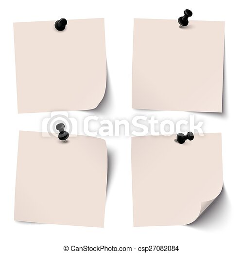 collection of colored sticky papers with black pin needle - csp27082084