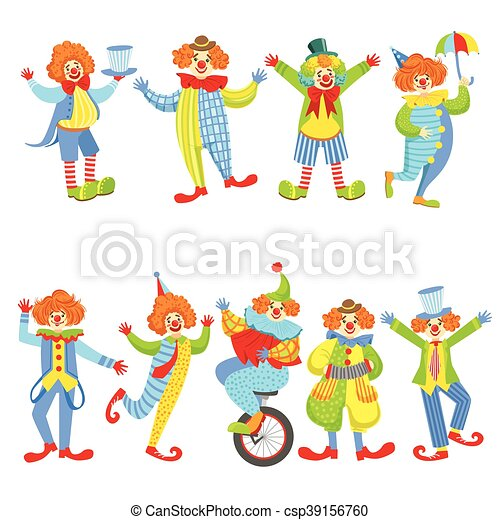 collection of colorful friendly clowns in classic outfits childish