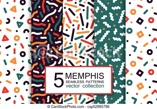 Collection of colorful seamless patterns - memphis design  Fashion 80-90s   Abstract trendy vector backgrounds