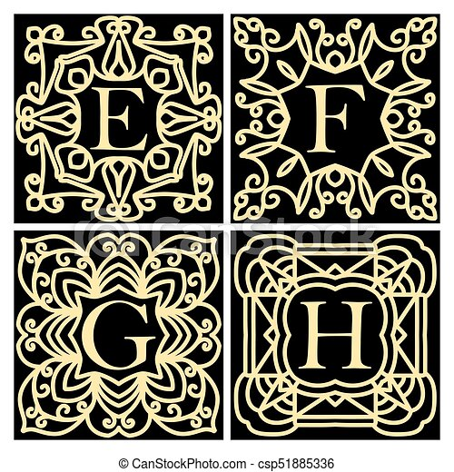 collection of concepts for luxury monograms or logos emblem or
