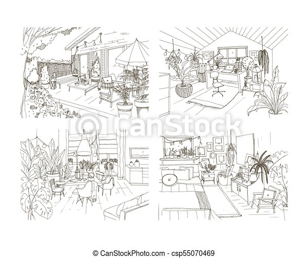 Collection Of Contour Sketch Drawings Of Cozy Apartment Furnished In