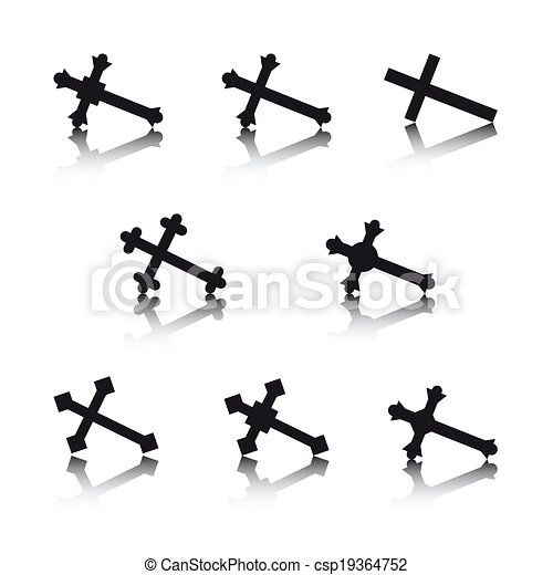 Collection of crosses isolated on white background - csp19364752