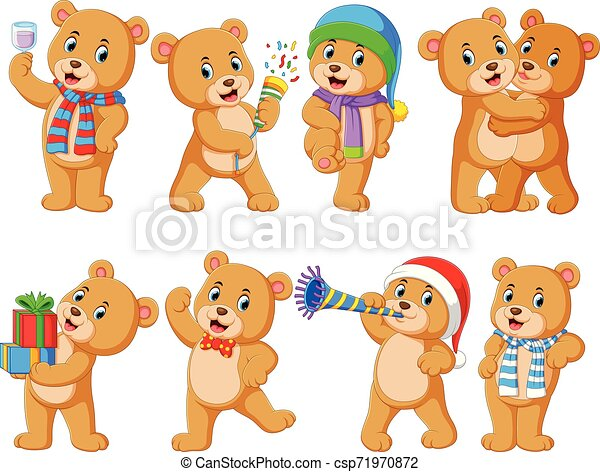 Collection of cute bear with various posing - csp71970872