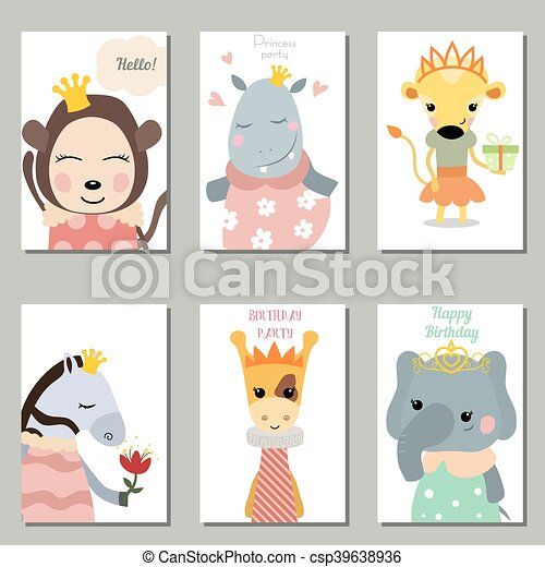 Collection of cute birthday cards Set of beautiful birthday