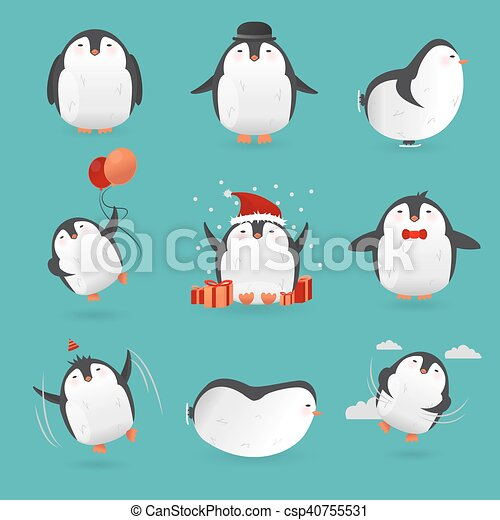 Collection of cute cartoon penguins characters. - csp40755531