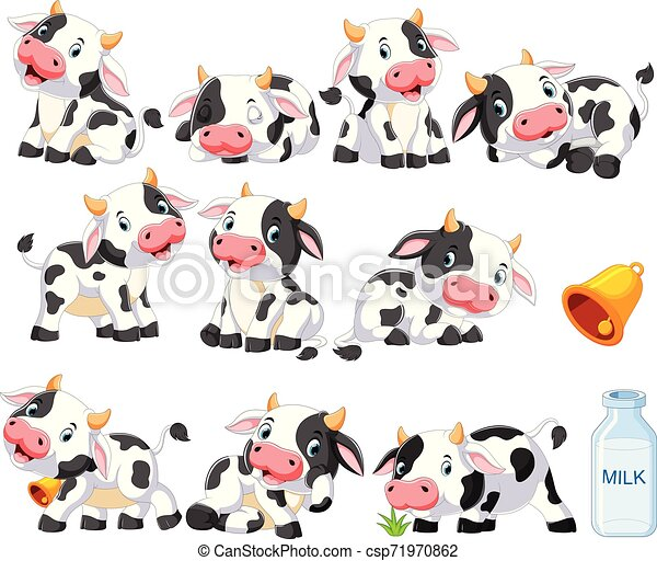 Collection of cute cow with various posing - csp71970862