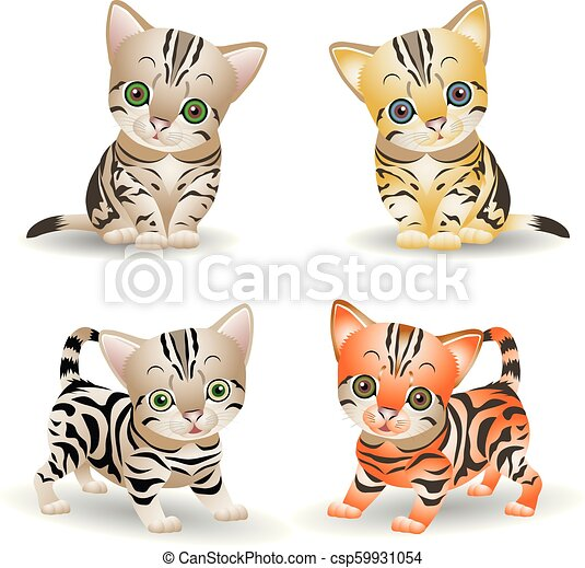 Collection of cute kittens (red and gray), cartoon on white background, - csp59931054