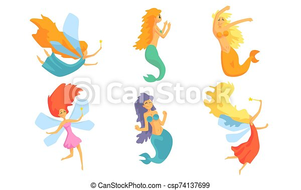 Collection of Cute Mermaids and Beautiful Fairies in Flight Vector Illustration - csp74137699