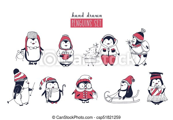 6ce6c98a36b5c Collection Of Cute Penguins Wearing Different Winter Clothing And Hats  Isolated On White Background.