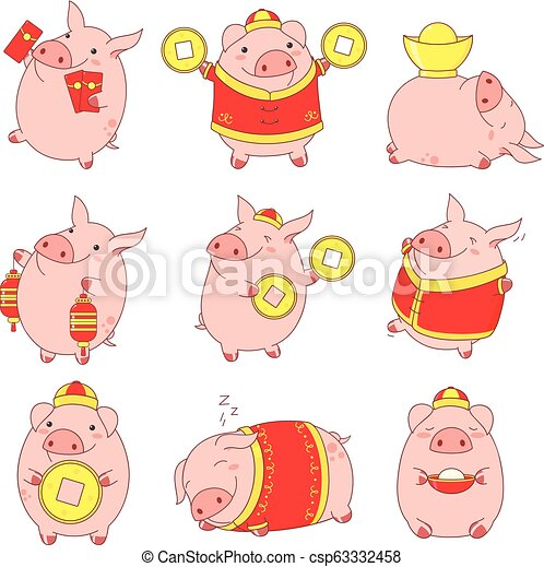 Collection Of Cute Pigs Set Of Cute Pigs In Kawaii Style Symbol Of