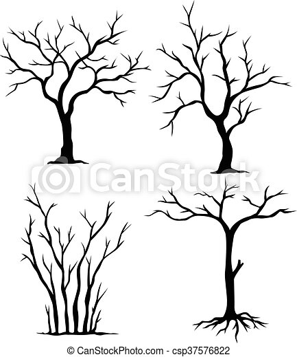 Vector Illustration Of Collection Of Dead Trees