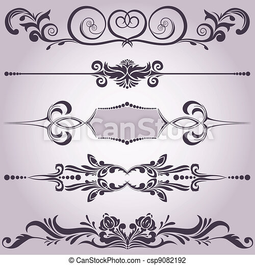 collection of decorative elements 6 - csp9082192